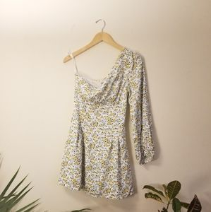 FREE PEOPLE floral one shoulder mini dress